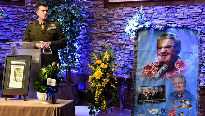 Todd Delaney speaks about how his father, Conrad, used to sing around the house during his time on earth. The celebration of life service for Conrad Delaney was held Monday, June 11, 2018 at Arrington Funeral Home.