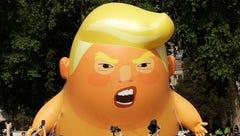 A six-meter high cartoon baby blimp of U.S. President