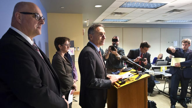 Gov. Peter Shumlin announced at a news conference at the Vermont Health Department in Burlington on Tuesday, October 28, 2014, that a Vermonter returning from West Africa has been voluntarily quarantined for 21 days. The man does not currently exhibit symptoms of Ebola.