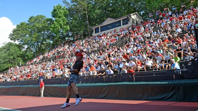 Fans look on during the NCAA Championships match between Georgia and Southern Cal at the Dan Magill Tennis Complex in Athens, Ga., on Thursday, May 18, 2017.
