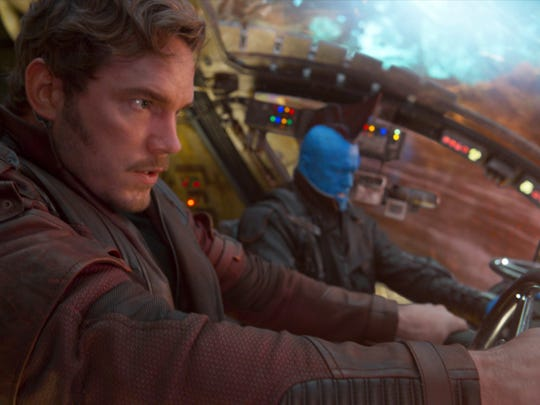 "Chris Pratt (left) and Michael Rooker appear in a scene from ""Guardians Of The Galaxy Vol. 2."""