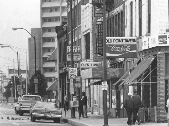The corner of Massachusetts and Alabama.  The Old Point Tavern is still in existence and in much better shape than this June 5, 1982 photo.