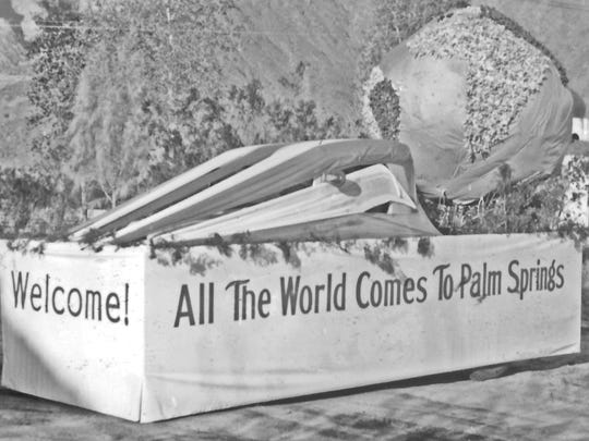 """Desert Circus, c. 1936 Lykken's Store float, """"All the World comes to Palm Springs"""""""