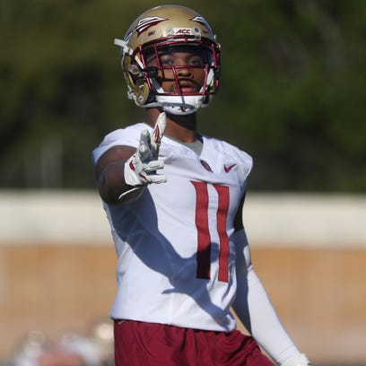 FSU's Nyqwan Murray lines up during spring practice
