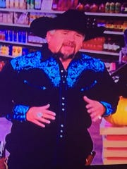"""Howdy, partner. Celebrity chef Guy Fieri donned a cowboy costume for a Halloween episode of his TV show, """"Guy's Grocery Games."""""""