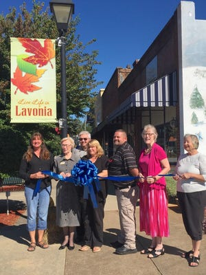 Shown at the ribbon cutting event from left are Janet Appling, Margaret  Ayers, Al Goldsmith, Becky Greenway, Jason Williams, Bonnie Bardey and Susan Poole.