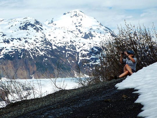 Hardbody snaps a photo above the Salmon Glacier in