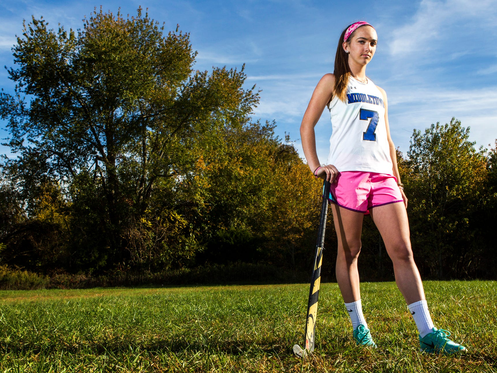 Middletown's Meghan Jolikko poses for a portrait near the playing fields at Middletown High School on Monday afternoon.