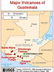 This map shows how close volcanoes in southern Guatemala