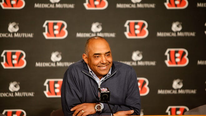 Marvin Lewis talks to members of the media during a press conference at Paul Brown Stadium in January.