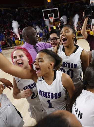 Valley Vista players celebrate after defeating Xavier in the 6A Girls State Basketball Championship game at Wells Fargo Arena in Tempe, Ariz. February 28, 2018.