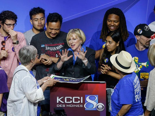 Iowa democratic candidate for governor Cathy Glasson meets with supporters after the 2018 Iowa democratic gubernatorial primary debate in Des Moines on Wednesday, May 30, 2018.