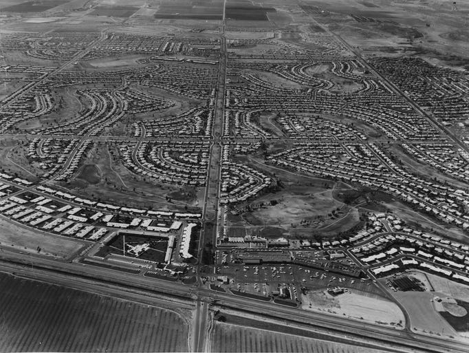 An areal image of Sun City in 1974.