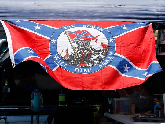 A Confederate flag is seen before practice at Daytona