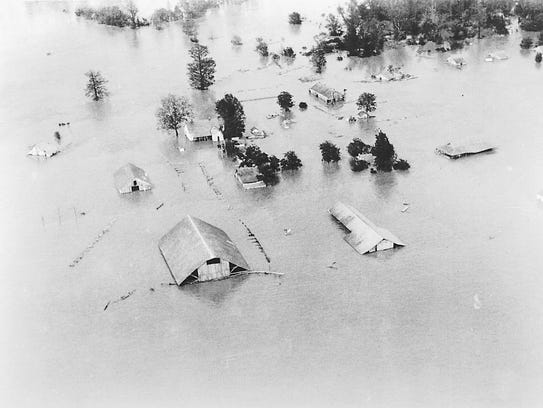 Homes were under water in the 1927 flood.