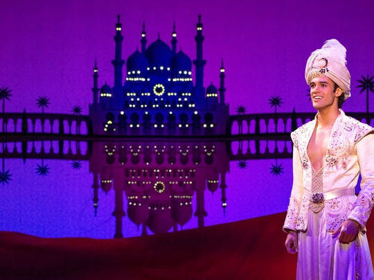 """Jonah Ho'okano (Aladdin), on stage in Disney's """"Aladdin,"""" which opens Wednesday, Dec. 4 at Wharton."""