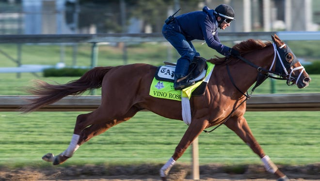 Vino Rosso is in full stride while working out at Churchill Downs prior to the Kentucky Derby. April 27, 2018
