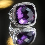 A David Yurman sterling silver, amethyst and diamond ring for $2,250.00 will make any girl's heart melt on Valentines Day.
