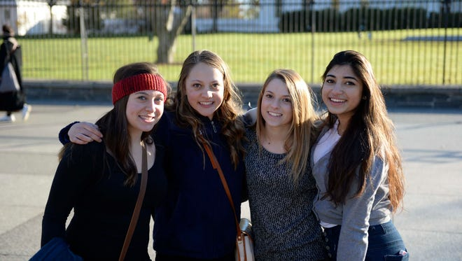 Mia Spector, Anna Gregeor, Hayley Shapiro and Elanit Simonov plan to shop at the mall. Photo by H. Darr Beiser, USA TODAY