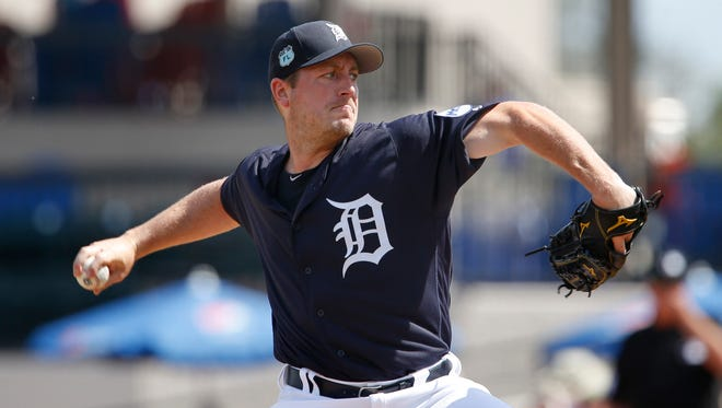 Detroit Tigers starting pitcher Jordan Zimmermann throws a pitch during the first inning against the Atlanta Braves on Feb. 27, 2017, at Joker Marchant Stadium.