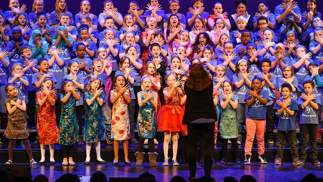 """The Madison Elementary School Singers perform """"Proud To Be An American"""" during The  Night of the Stars variety show Friday, Feb. 24, at the Paramount Theatre."""