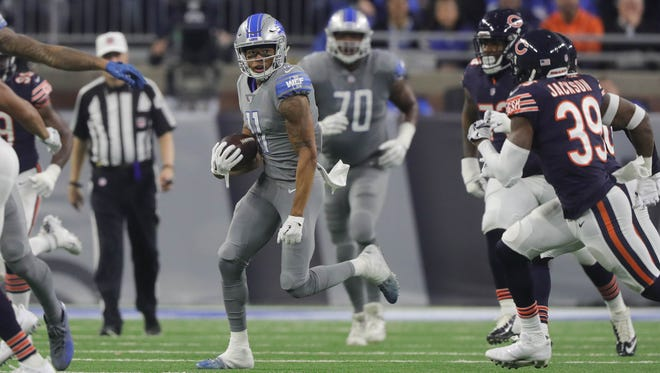 Lions wide reciever Marvin Jones had three catches for 85 yards on Saturday against the Bears at Ford Field.