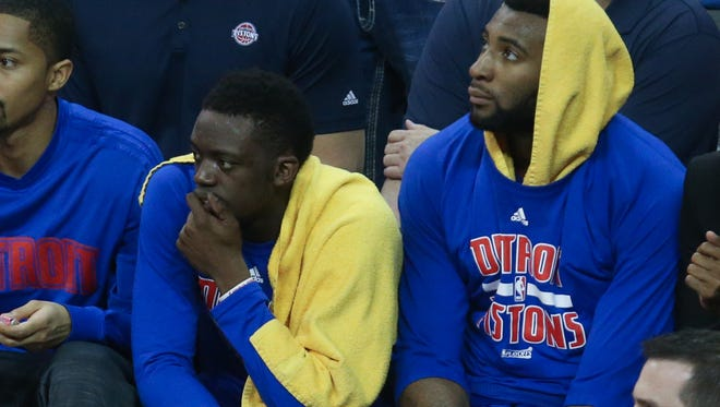 Pistons guard Reggie Jackson and center Andre Drummond sit on the bench during the fourth period of the Pistons' 107-90 loss in Game 2 of the Eastern Conference quarterfinals Wednesday in Cleveland.