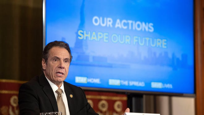 Gov. Andrew Cuomo provides a coronavirus update during a press conference in the Red Room at the State Capitol on April 22, 2020. He announced New York would work with neighboring states to do contact testing for the coronavirus.