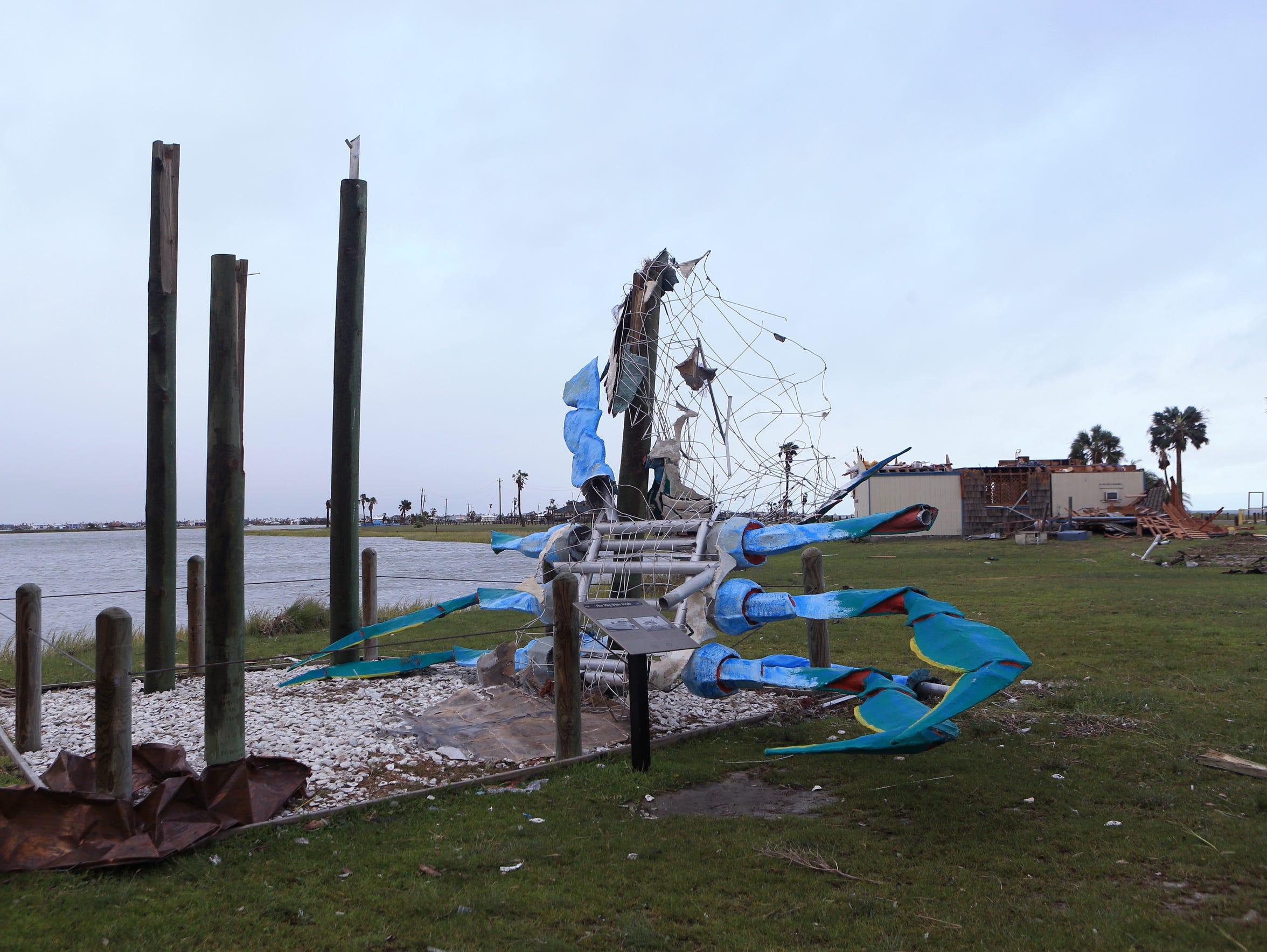 Rockport's iconic landmark, the Blue Crab, was knocked
