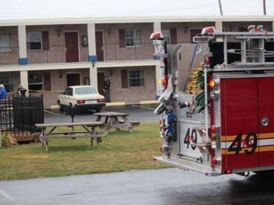 York County's chief deputy coroner has been called to the former Red Carpet Inn in Hanover, where fire crews put out a room blaze on Thursday, Sept. 10, 2015.