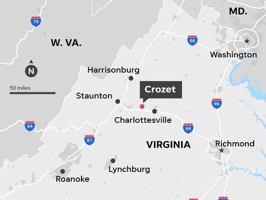 Map locates Crozet, Virginia where an Amtrak train,