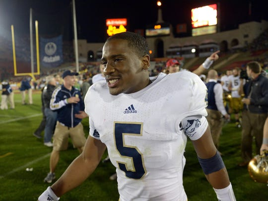 Notre Dame Fighting Irish quarterback Everett Golson (5) reacts at the end of the game against Southern California.