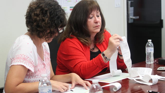 Commissioners Jenny Turnbull and Nadia Sikes go through election results on Friday morning.