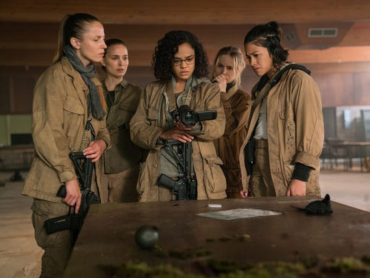 Tuva Novotny, left, Natalie Portman, Tessa Thompson, Jennifer Jason Leigh and Gina Rodriguez star as the core group of women in the sci-fi film 'Annihilation.'