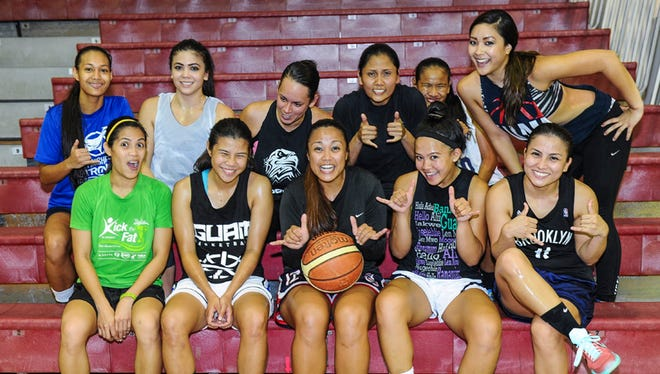 The Guam women's national basketball team poses for a photo during a practice session at the Academy of Our Lady Guam gym in Hagatna on May 27. Front row, from left: Jocelyn Pardilla, Joylyn Pangelinan, Charisse Bolabola, Alina Bonto and Maree Pelkey. Back row, from left: Kali Benavente, Brianna Benito, Sonja Sanchez, Kathryn Castro, Destiny Castro and Derin Santos.