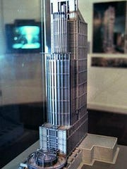 A model of one of the skyscrapers once proposed for