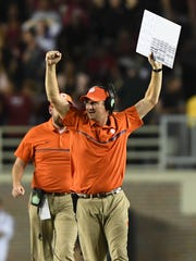 Clemson co-offensive coordinator Jeff Scott during the 4th quarter at Florida State's Doak Campbell Stadium in Tallahassee, Fl. on Saturday, October 29, 2016.