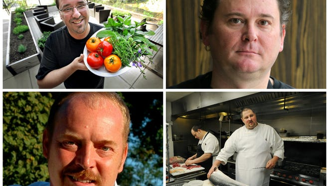 Micah Frank of Black Market (top left); Greg Hardesty of Recess (top right); Daniel Orr of FARMbloomington (bottom left) and David Tallent of Restaurant Tallent (bottom right) are semifinalists for James Beard Awards in the Best Chef: Great Lakes category.
