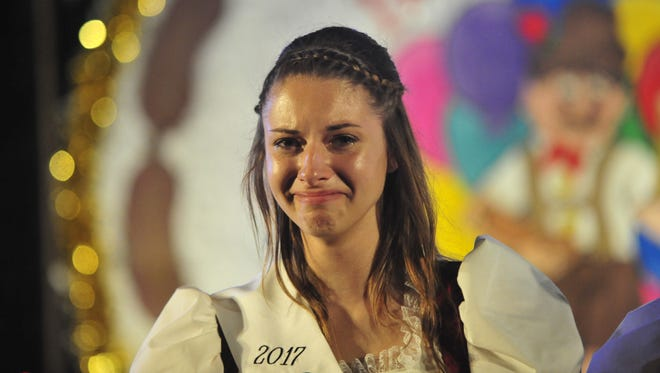 Allison Lawson reacts to being named queen of the 50th Bucyrus Bratwurst Festival.