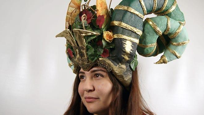 Ram's Horn Headdress by Sarah Asad is a Gold Key winner in the Scholastic Art Awards.