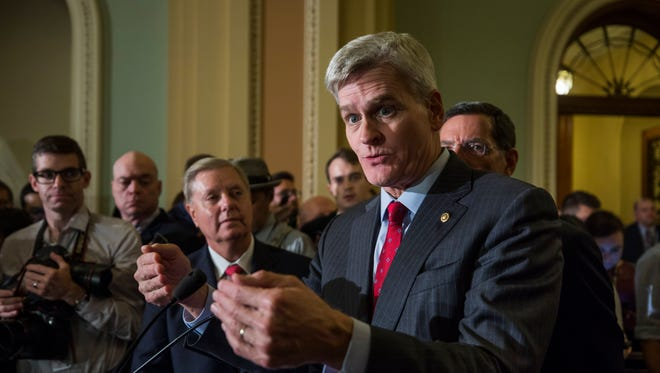 Sen. Bill Cassidy, R-La., speaks to the media about Republican Senate Majority Leader from Kentucky Mitch McConnell's decision not to hold a vote on the Graham-Cassidy Health Care Bill in the US Capitol in Washington, D.C. on Sept. 26, 2017.