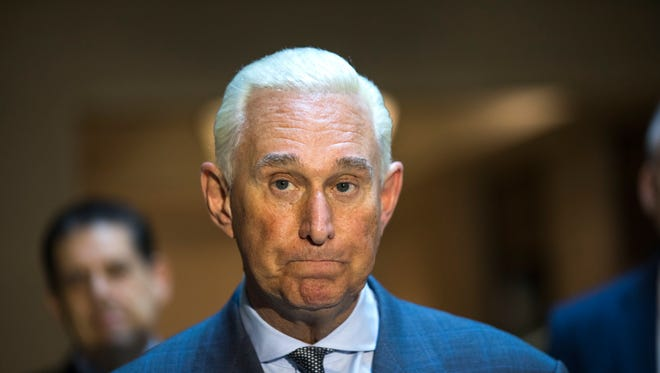 Roger Stone, an associate of President Trump,  speaks to the media after answering questions from the House Intelligence Committee's Russia probe in the U.S. Capitol in Washington, D.C., on Sept. 26, 2017.