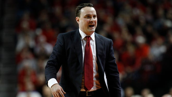 Indiana Hoosiers head coach Archie Miller reacts during the game against the Nebraska Cornhusker in the second half at Pinnacle Bank Arena. Nebraska won 66-57.