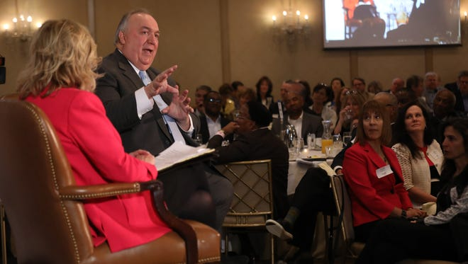 Michigan State University Interim President John Engler is interviewed by Carol Cain, during the Detroit Free Press Breakfast Club series at the Townsend Hotel in Birmingham, Mich. on Thursday, May 10, 2018.