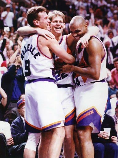Phoenix Suns Majerle, Ainge and Barkley playing in