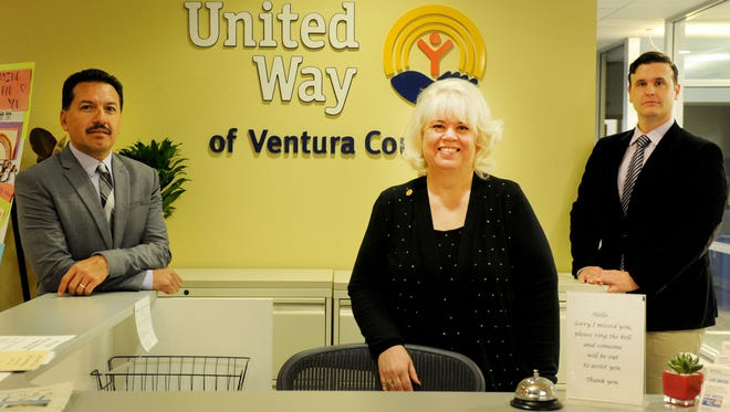 From left, Rigoberto Vargas, incoming chairman of the board; Jill Haney, chairwoman; and CEO Eric Harrison help lead the United Way of Ventura County.