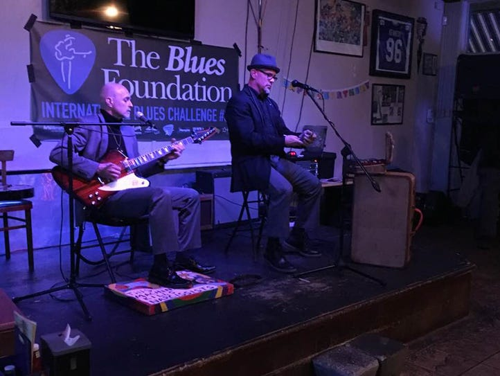 Ed Pickett and John Bull on stage this past week at