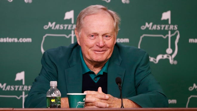 In a file photo from April 7, Jack Nicklaus speaks at a news conference during the Masters.