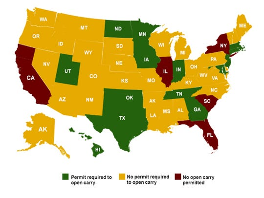 Map shows the laws for open carrying in the United