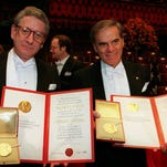 American Nobel Prize for Medicine co-winners Alfred Gilman left and Martin Rodbell right. Gilman, 74, died in Dallas last week.